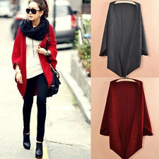Women Casual Loose Shawl Batwing Sleeves Lady Knit Sweater Coat Woolen Cardigans