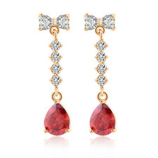 Korean Jewelry 18K Gold Plated Clear Rhinestone Bow Teardrop Dangle Earrings