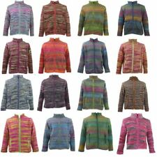 WOOL KNIT CARDIGAN JACKET ZIP UP TURTLE NECK HIPPIE FESTIVAL JUMPER FLEECE LINED
