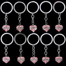 Pink Crystal Family Mom Daughter Sister Dad Heart Key Ring Keyring Keychain Gift