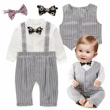Baby Boy Wedding Christening Tuxedo Suit+Waistcoat Outfit Clothes Set NEWBORN-24