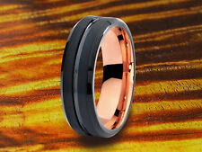 Wedding Band Black & Rose Gold 6MM,His,Hers,Black Tungsten Ring,Two Tone Ring.
