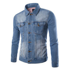 New Mens Slim Fit Fashion Denim Coat Button Jean Jacket Autumn Casual Overcoat