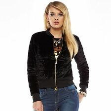 NEW! Juicy Couture Velvet Foiled Puffer Jacket Coat - Black
