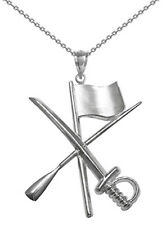 Color Guard Flag Rifle Saber Necklace in Silver for Winter Guard and Colorguard