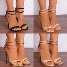 BARELY THERE STILETTOS PEEP TOES HIGH HEELS STRAPPY SANDALS ANKLE STRAP SIZE