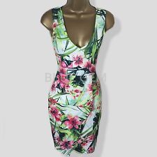 Tropical Floral Bodycon Party Evening Cocktail Peplum Pencil Dress Size 10 12 14
