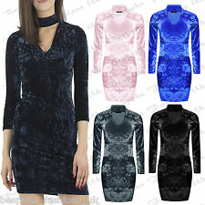 Ladies Women's Long Sleeve CRUSHED VELVET VELOUR Bodycon Choker Neck Mini Dress