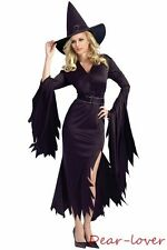 Black Gothic Witch Cosplay Halloween Night Club Bedtime Women Sexy Costumers