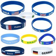 Unisex Country Flag Rubber Silicone Bracelets Sport Fashion Wristband Cuff Cheer