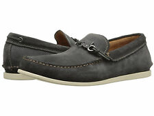 $198 NEW NIB John Varvatos Oxide Gray SlipOn Leather Boater Shoes Mocs CLEARANCE