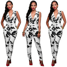 Women Ladies Clubwear V Neck Playsuit Bodycon Party Trousers Jumpsuit Romper HOT