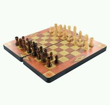WOODEN 3 IN 1 VINTAGE CHESS GAME SET CHESS SET BOX CHECKERS BACKGAMMON BOARD