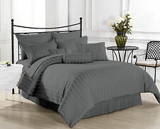 (GREY STRIPE) 1000TC COMPLETE BEDDING COLLECTION 100% EGYPTIAN COTTON ALL SIZE