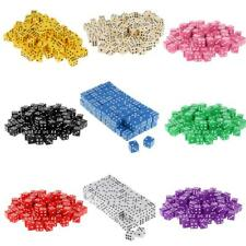 100x Opaque Acrylic 16mm Six Sided Spot Dice RPG Games Board Game Party Supplies
