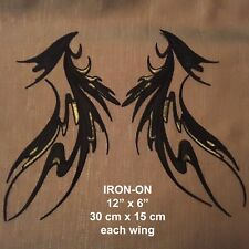 "Black Wings Dance Costume Mirror Pair Embroidered 12"" Iron-on Patch Applique"
