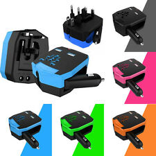 Travel Universal All In One Power Adapter Wall Plug Converter/2 USB/Car Charger