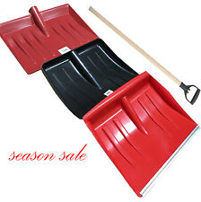Snow Shovel Strong Wooden Handle Pusher Scoop Spade Muck Mucking Out Metal Edged