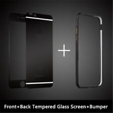 For iPhone 7 6S 5S Plus Front Back Mirror Tempered Glass Metal Bumper Frame Case