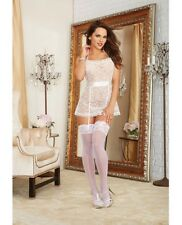 DREAMGIRL Bridal Scalloped Lace Apron Babydoll and Heart Panty