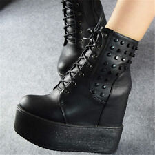 Punk Goth Creepers Womens Shoes Spike Studded Ankle Boots Platform Wedges Heels