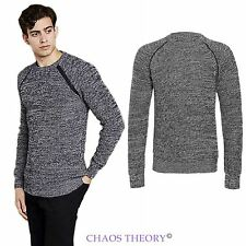 Brave Soul Mens Luxury Knitted Jumper Crew Neck Long Sleeve Sweater Top