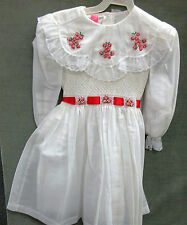 Christmas Special Occasion Dress/ Smocked & embroidered size 6