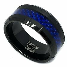 9mm Men Black Tungsten Carbide Blue Carbon Fiber Inlay Grooved Wedding Band Ring