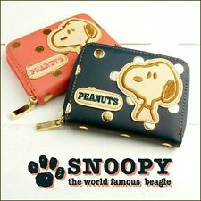 PEANUTS SNOOPY Print Mini Wallet Coin Card Case Purse Compact from Japan R2060