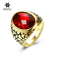 MOZEL Fashion Jewelry Domineering Glass 316L Stainless Steel Red Men Finger Ring