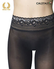 Seamless tights with silver lace 50 denier opaque Black S/M/L