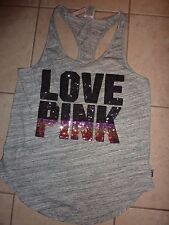 "VICTORIAS SECRET PINK RARE BLING OMBRE SEQUIN TANKTOP ""LOVE PINK"" TEESHIRT NWT"