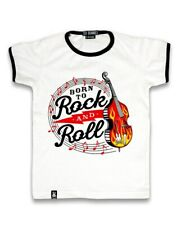 Six Bunnies Boys Girls Born to Rock n Roll Tee Shirt Rockabilly Vintage Tshirt