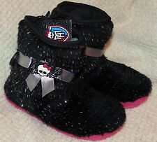 Monster High Fluffy Black Boot Style Girls Slippers Size Small, Med., Large New