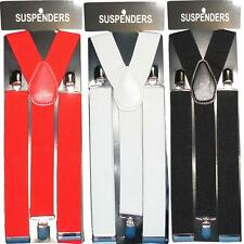 GENTS MENS 25MM OR 35MM WIDE ADJUSTABLE BRACES SUSPENDERS ELASTIC PLAIN CLASSIC