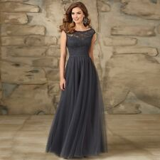 Scoop Neck Lace Cap Sleeves Grey Tulle Bridesmaid Dress Evening Party Gown HD046
