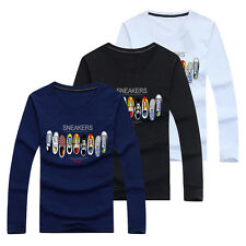 New Men's Crew Neck Tops Tee Shirt Slim Fit Long Sleeve Printed Casual T-Shirt