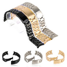 Stainless Steel Solid Links Watch Band Strap Bracelet Curved End 18/20/22/24mm