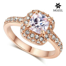 MOZEL Four Claw Swarovski Crystal Rose Gold Plated Princess Cut Zircon Lady Ring