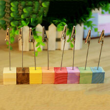 Wooden Memo Paper Note Picture Table Card Number Photo Clip Holder  LD