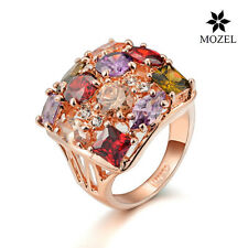 MOZEL Luxury Rose Gold Plated Multicolor Zircon  Swarovski Crystal Wedding Rings