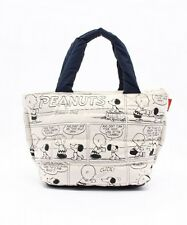 PEANUTS SNOOPY Comic Print Cotton Tote Bag Handbag Purse Zip from Japan T4806
