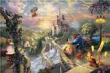 Thomas Kinkade BEAUTY AND THE BEAST, HD Canvas Print Home Deco Wall Art Painting