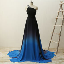 One Shoulder Beaded Bridesmaid Party Dresses Long Evening Formal Prom Gown HD073