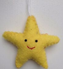 Yellow Felt Star Ornament Christmas Tree Decoration Hand Embroidered Felted Star
