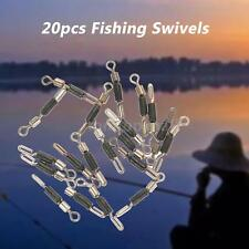 Outdoor 20pcs Rolling Fishing Swivels Hook Connectors Fishing Tackle Gear P8H9