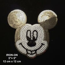 "Mickey 5"" Minnie Mouse Smiley Disney CARTOON Sequin Iron-On Patch Applique"