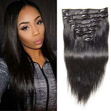 Brazilian Human hair Extension 16 Clips 8PCS/set Clip In Hair 100g 1# Black