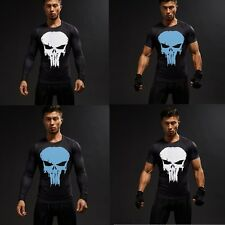 Superhero Punisher Men's T-shirt Compression Short Long Sleeve Tops Sports Tee