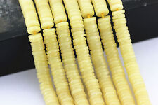 """Natural Yellow Jade Round Disc Loose Beads 6x1.5mm 15.5"""" Long Per Strand"""